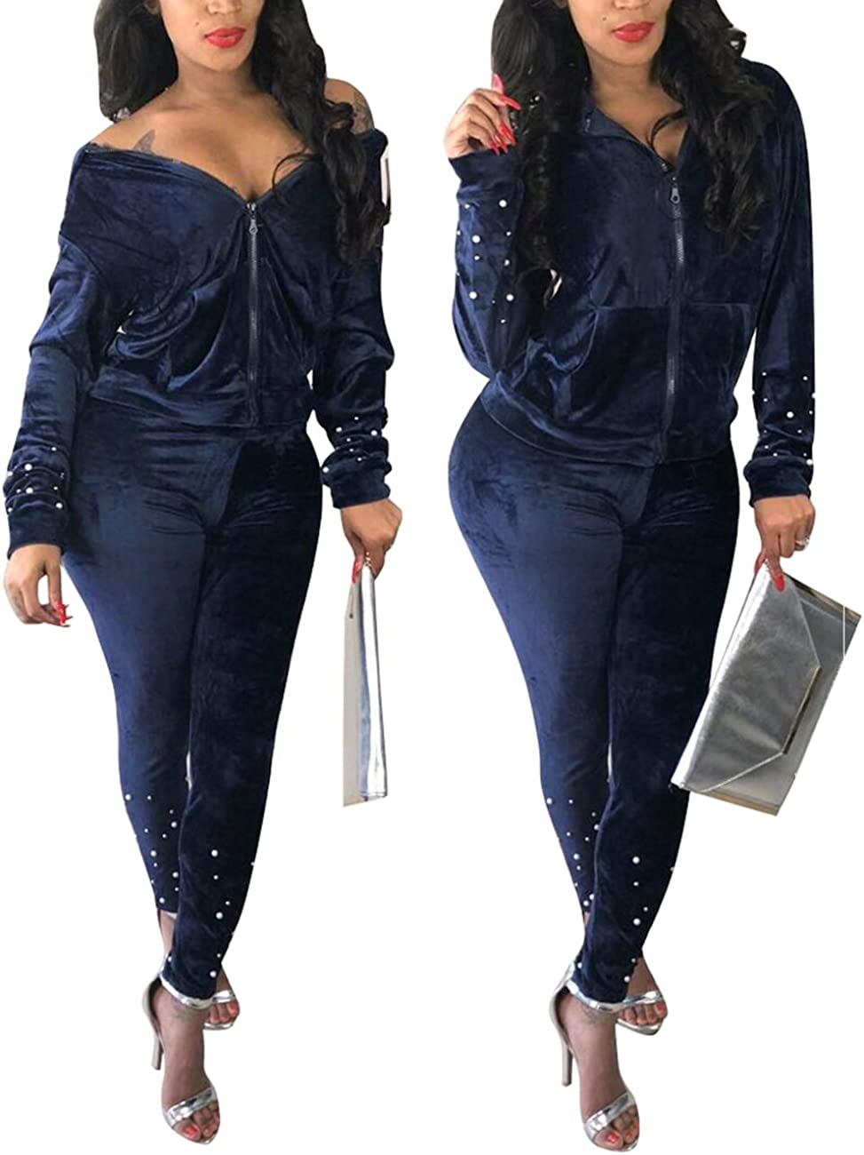 Jogging Suits Sprifloral Women Two Piece Outfits Tracksuit Velour Beads Long Sleeve Hoodie