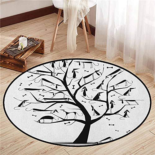 Pet Rugs,Abstract,Monochrome Autumn Season Tree with Dog Silhouettes on The Branches Dachshund,Ideal Gift for Children,3'3