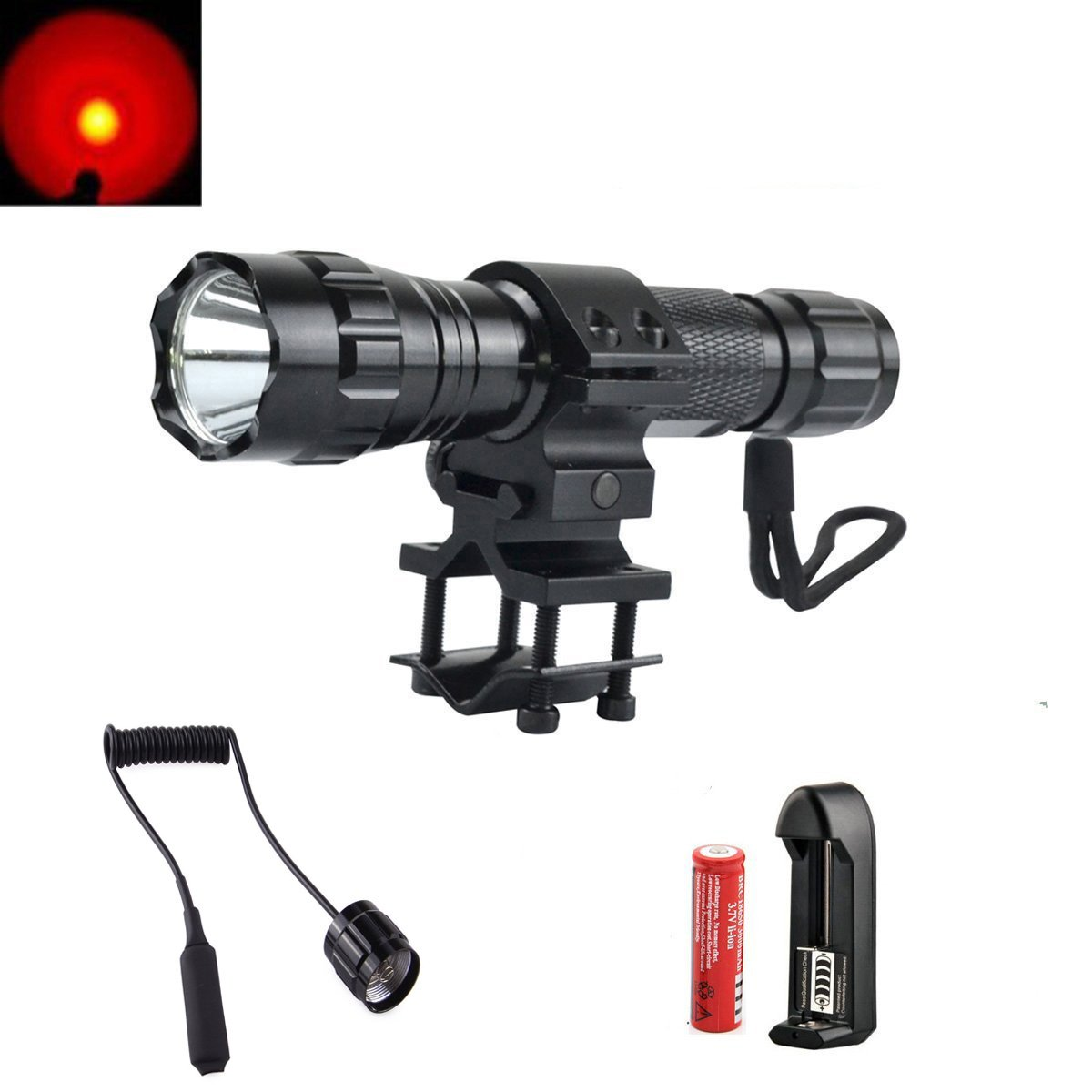Shigoo 350lm Bright Red Hunting Light Led Coyote Hog Pig How To Make A Flashlight Bulb 8211 For 2 15 Volt Batterie Varmint Predator Lights Torch With Mount Remote Pressure Switch