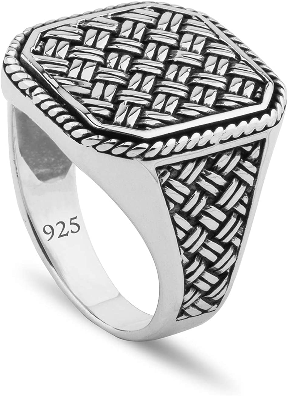 Handmade 925 Sterling Silver chevron ring with Black Onyx stone and star motive