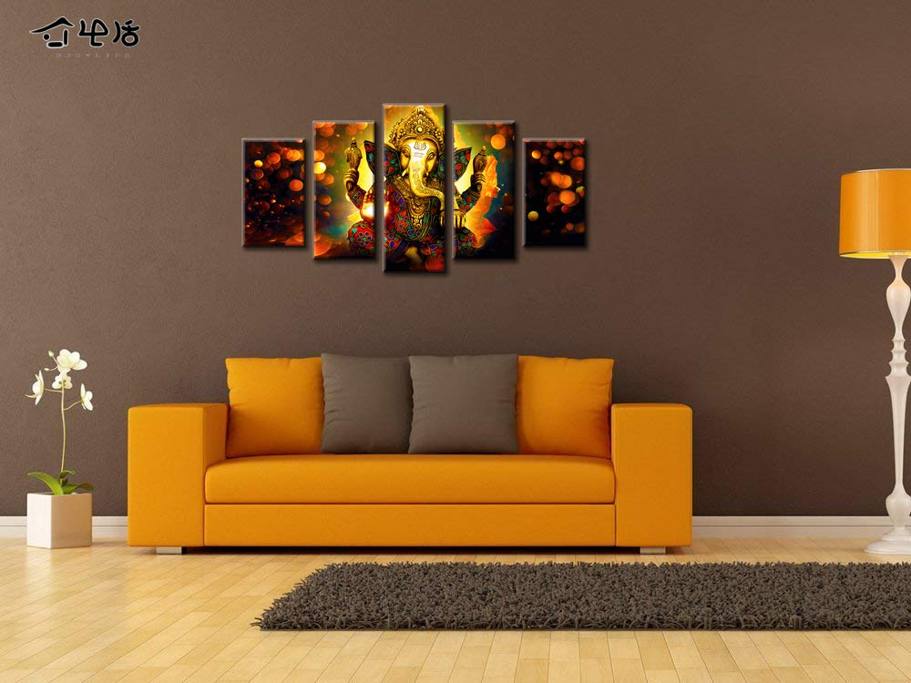 DJSYLIFE Hindu God Ganesha Wall Art Canvas Printed for Living Room Decorative Painting Modern Home Decor 5pcs HD Print Lord Ganesha Elephant Picture Art Wall Framed Ready to Hang 40 W x 22 H