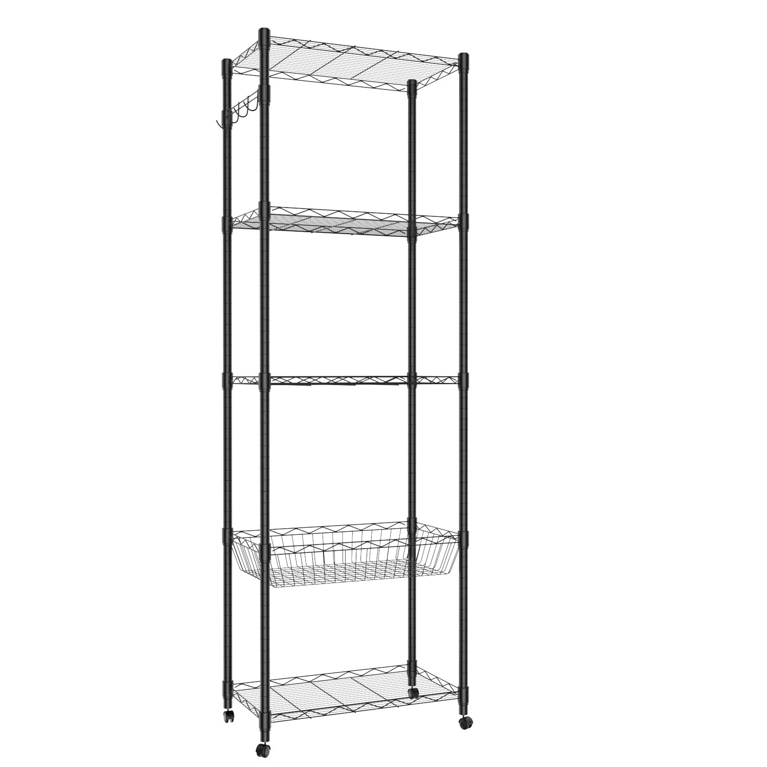 5 Tier Steel Wire Shelving with Wheels, Shelving Storage Organizer Rack for Kitchen Bathroom Balcony Living Room 71inch - Black [US STOCK]