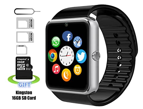 Vigorun Reloj Inteligente, Pushman 1 Impermeable Inteligente Reloj Teléfono para iPhone 5S/6/6S y Android 4,2 o Superior Smartphones, Pushman