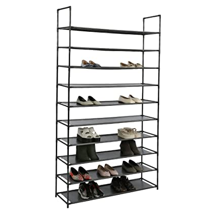 Exceptionnel HOME BI 10 Tiers Shoe Rack Organizer, 50 Pairs Shoes Storage Tower Cabinet  For Entryway