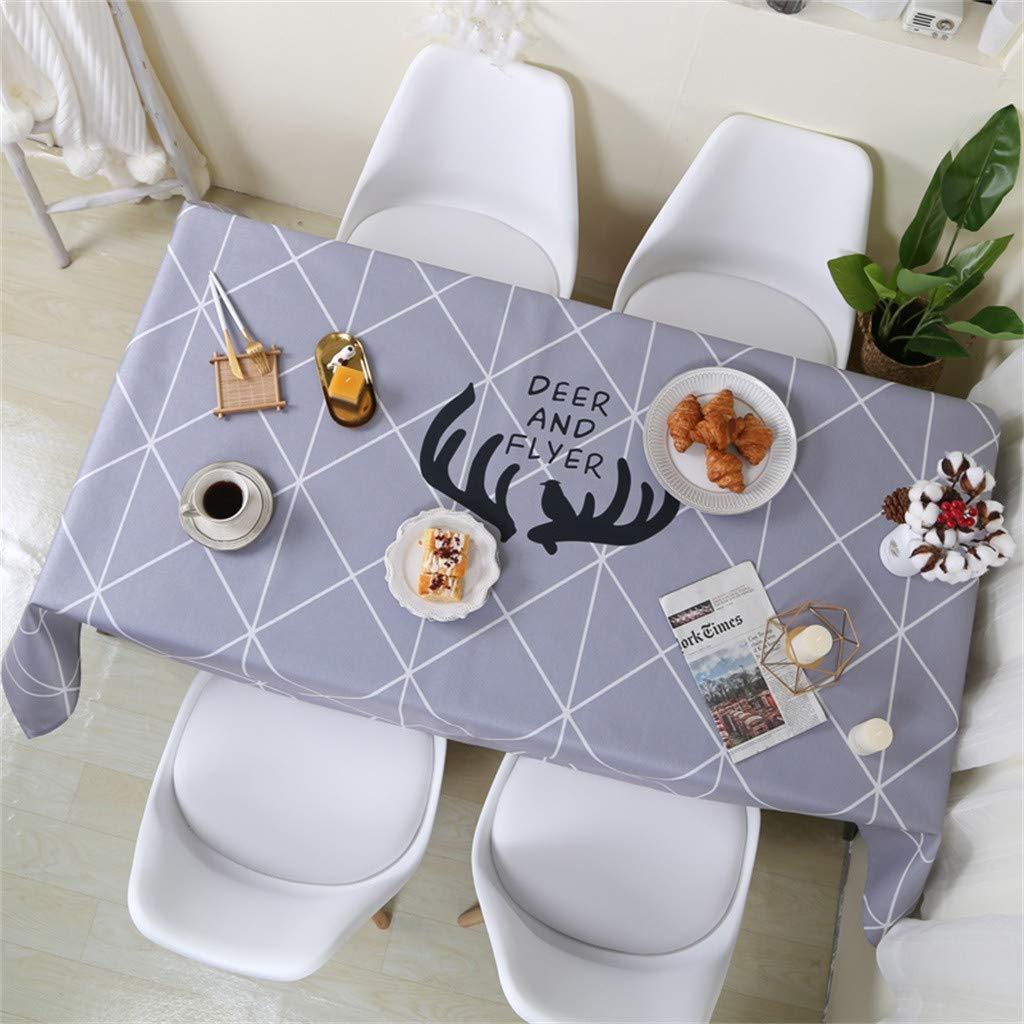 Rameng Nappe de Table Carrée Rectangulaire en Polyester Lavable pour Salle à Manger Pique-Nique (A,140X200CM)