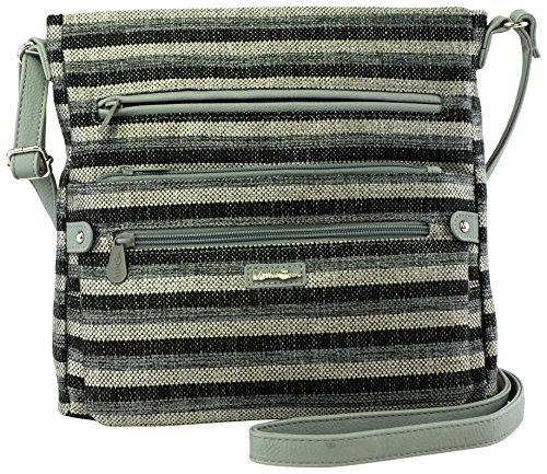 Crossbody grey MultiSac Stripe Black One Size Handbag Calypso Lorraine qCwUCtvg1