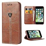 iDoer iPhone 7 Wallet Case, iPhone 8 case, Leather Folio Flip Case Cover Magnetic Stand Function with Card Slots/Cash Compartment for Apple iPhone 7/7S/iPhone 8 2017 Coffee