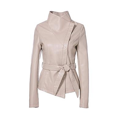 check-out 93a5c 348f6 Vestes Chaudes pour Les Femmes Printemps 2019 Marque Veste en Cuir Gothique  Grand Col Rabattu Ceintures Court Dames en Cuir Manteau