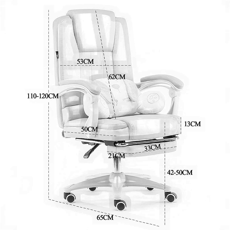 GAOPANG Ergonomisk kontorsstol hög rygg justerbar sittdyna armstöd nackstöd datorstol vilstol 150 ° vilande och gunga med PU-hjul, sitthöjd: 42–50 cm Svart