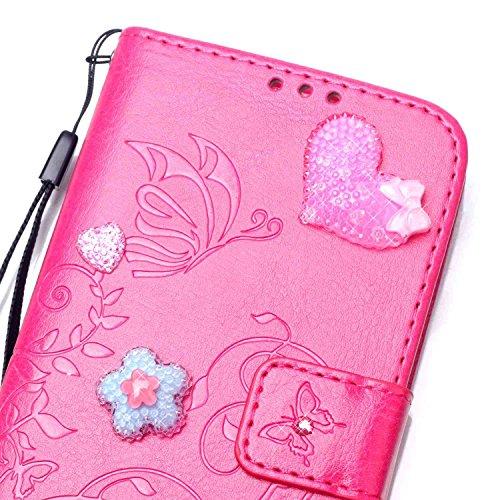 SRY-Funda móvil Samsung Estampado de flores en relieve PU cuero Rhinestone caja billetera caso del soporte para Samsung Galaxy J510 J5 2016 ( Color : Rose Red ) Red