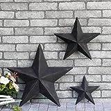 YL Crafts - Metal Stars Wall Decoration Mounted Wall Art 3pcs/set (Black)