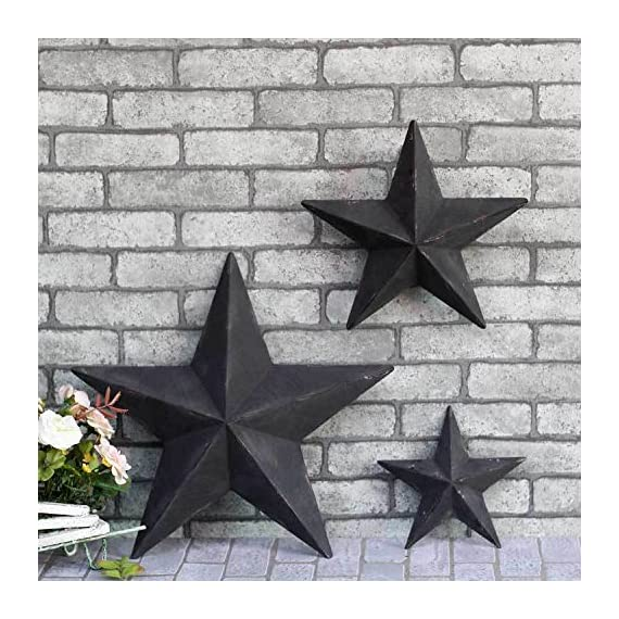 YL Crafts - Metal Stars Wall Decoration Mounted Wall Art 3pcs/set (Black) - Dimension: 12.8x12.8x2inch / 8.8x8.8x1.6inch / 6x6x1.2inch Color: white, black, pink, gray, yellow, orange, hand painted Material: high quality rust-free metal - living-room-decor, living-room, home-decor - 61sBYnIc%2BNL. SS570  -