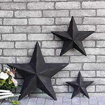 Lovely YL Crafts   Metal Stars Wall Decoration Mounted Wall Art 3pcs/set (Black)