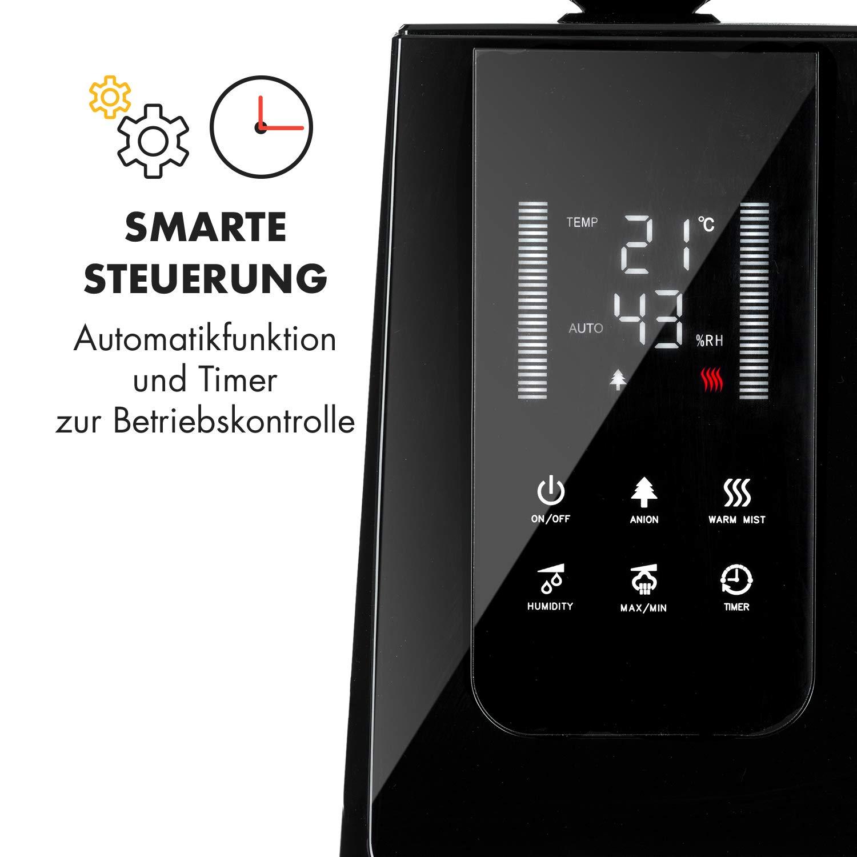 Klarstein VapoAir Opal Luftbefeuchter /• zuschaltbarer Ionisator /• Aroma-Diffusor /• 300 ml//h /• 5 L /• LED /• Timer-Modus /• Autostopp-Funktion /• Touch-Bedienung /• inkl Fernbedienung /• schwarz-anthrazit
