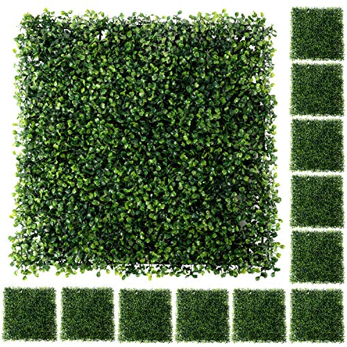 """Houseables Artificial Boxwood Hedge Panels, Backyard Grass Privacy Fence, 19.5"""" x 19.5"""", 12 Pack, Green, Plastic, Outdoor Greenery Screen, Faux Plant Wall Backdrop, Garden Tile Decor, Fake Hedges"""