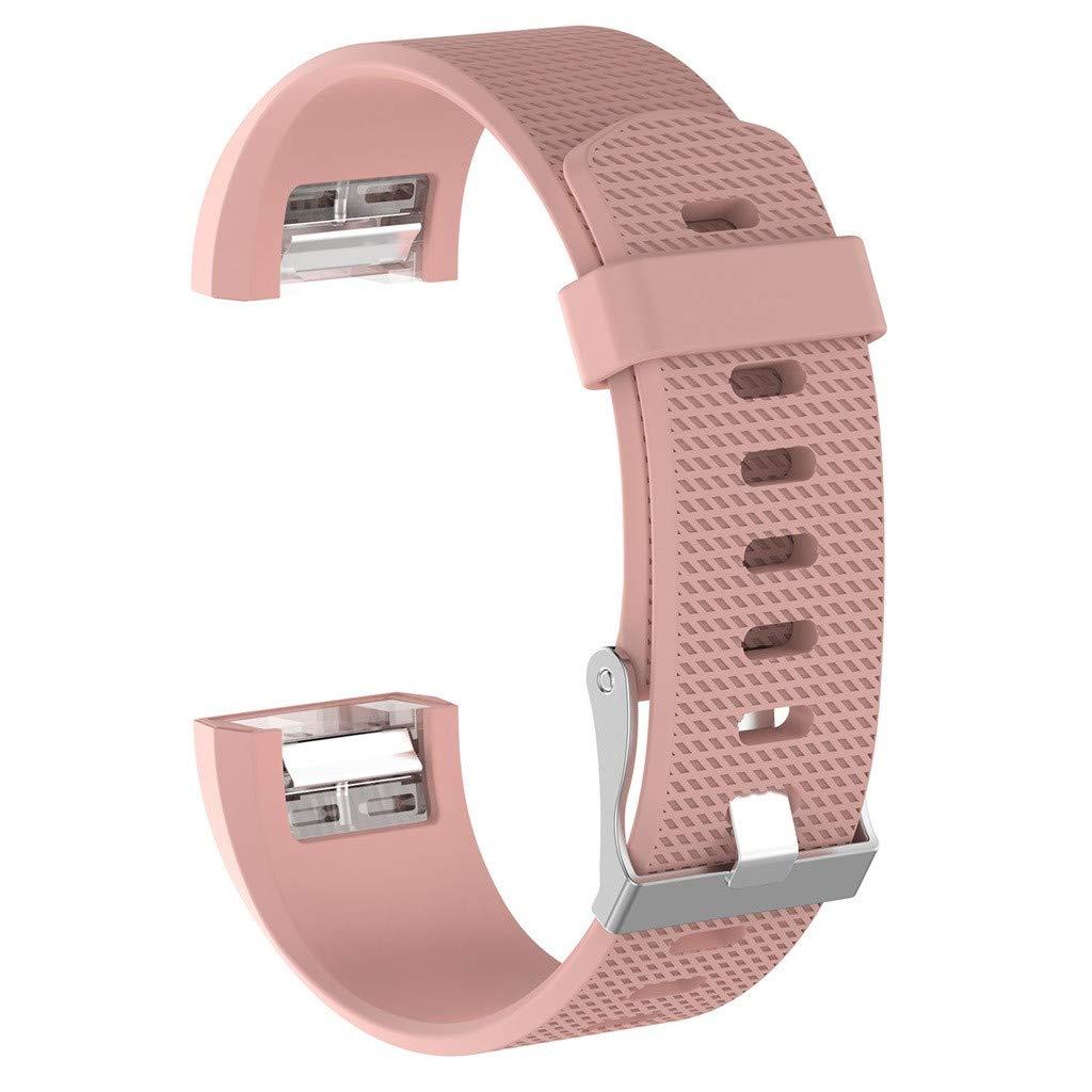 Bearbelly Armband Kompatibel mit Fitbit Charge 2 Textur Reine Farbe Silikon Wasserdicht Sport Einstellbar Ersatz Uhrenarmband Damen Herren Kettenriemen Kreativ Gift,21 Farben zur Auswahl