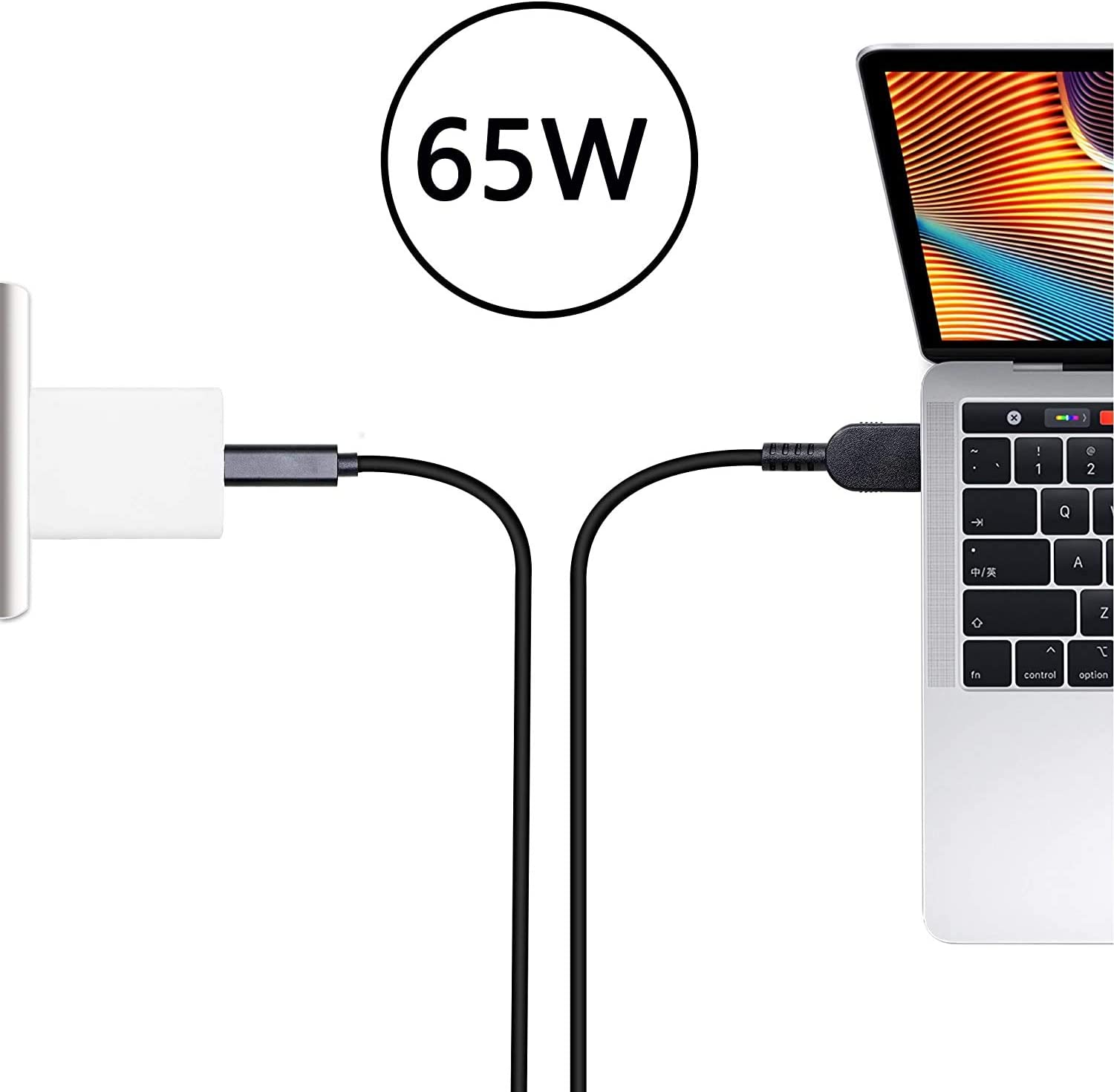 USB C//Type-C Male to DC 4.5 X 3.0mm Female Power Plug Extension Charge Cable for HP Pavilion,EliteBook Series etc.