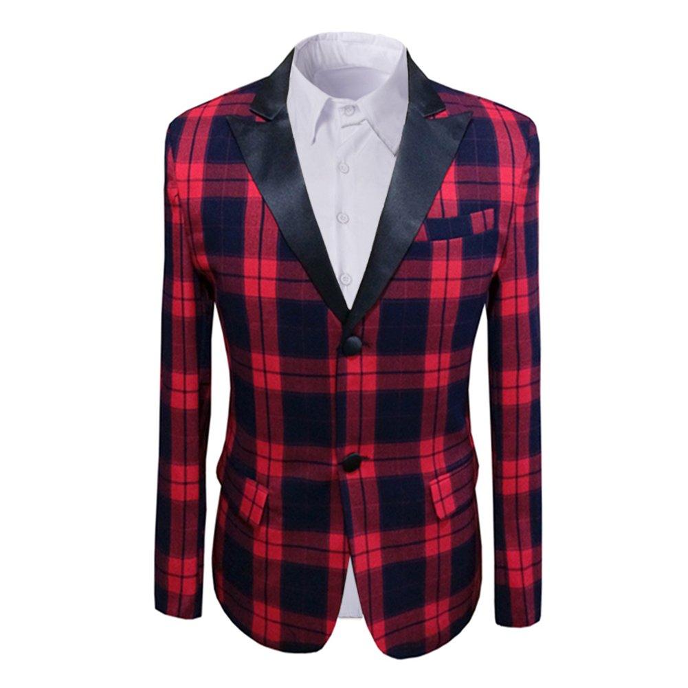Cloudstyle Men's Slim Fit Suit Blazer Two Button Red Plaid Party Wedding Jacket Coat