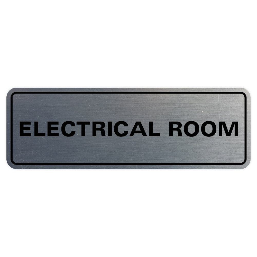 Standard Electrical Room Door / Wall Sign - Silver - Medium
