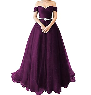 Awishwill Shoulder Sweetheart Tulle Prom Dress Beaded Ball Gown Formal Evening Party Gown - -