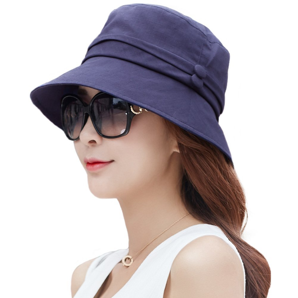 868ed784dc6859 Siggi Ladies Bucket Summer Sun Hat Foldable Beach Cap Wide Brim UPF50+  Packable for Women product