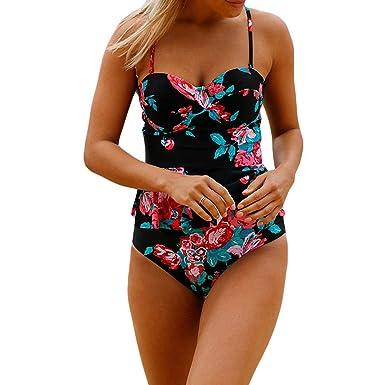 ab7b1624aa Addfect Tankini Maillot de Bain Femme Dos Nu 2 Pièces Bikini a Volant Push  Up Armature