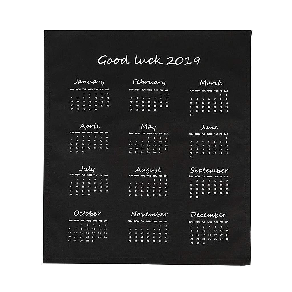 2020 Wall Calendar Planner, New Year Creative Fabric Calendar Decoration Simple Wall Calendar