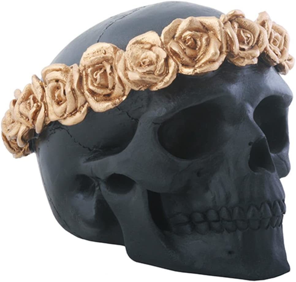 YTC 3 Inch Black Skull Head with Copper Colored Flower Headband