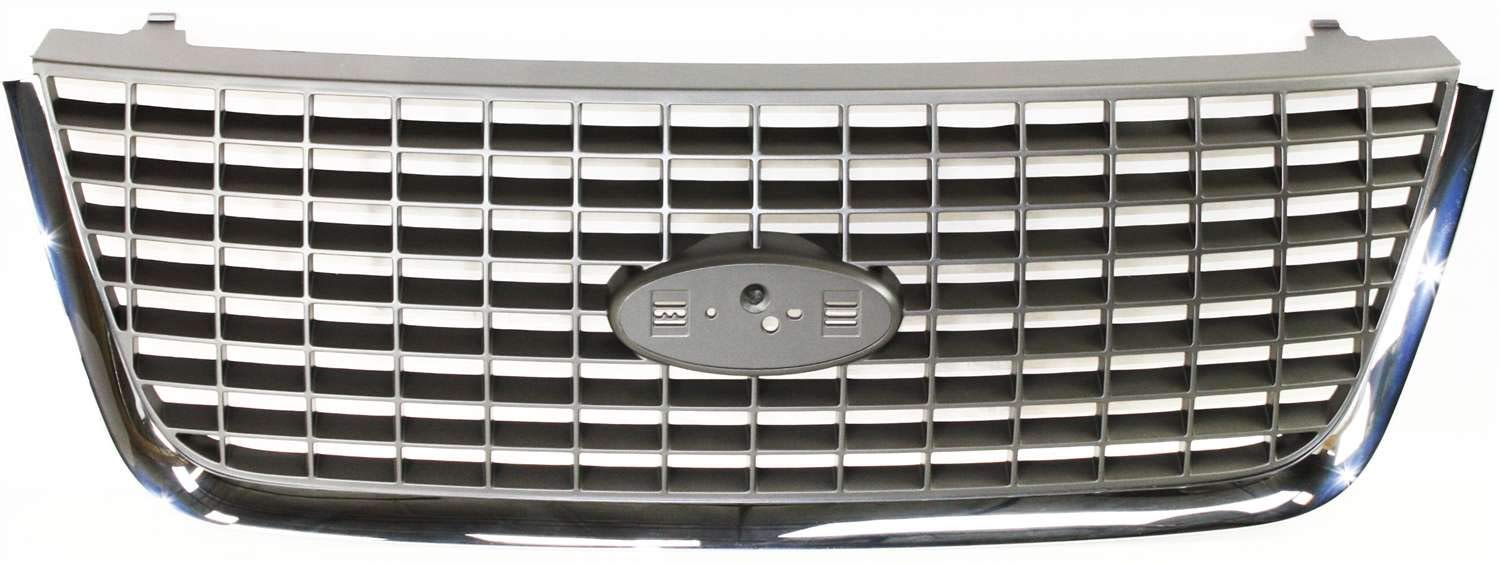 Grille Assembly Compatible with 2003-2006 Ford Expedition Chrome Shell//Painted Gray Insert Factory Installed NBX//XLS//XLT Models