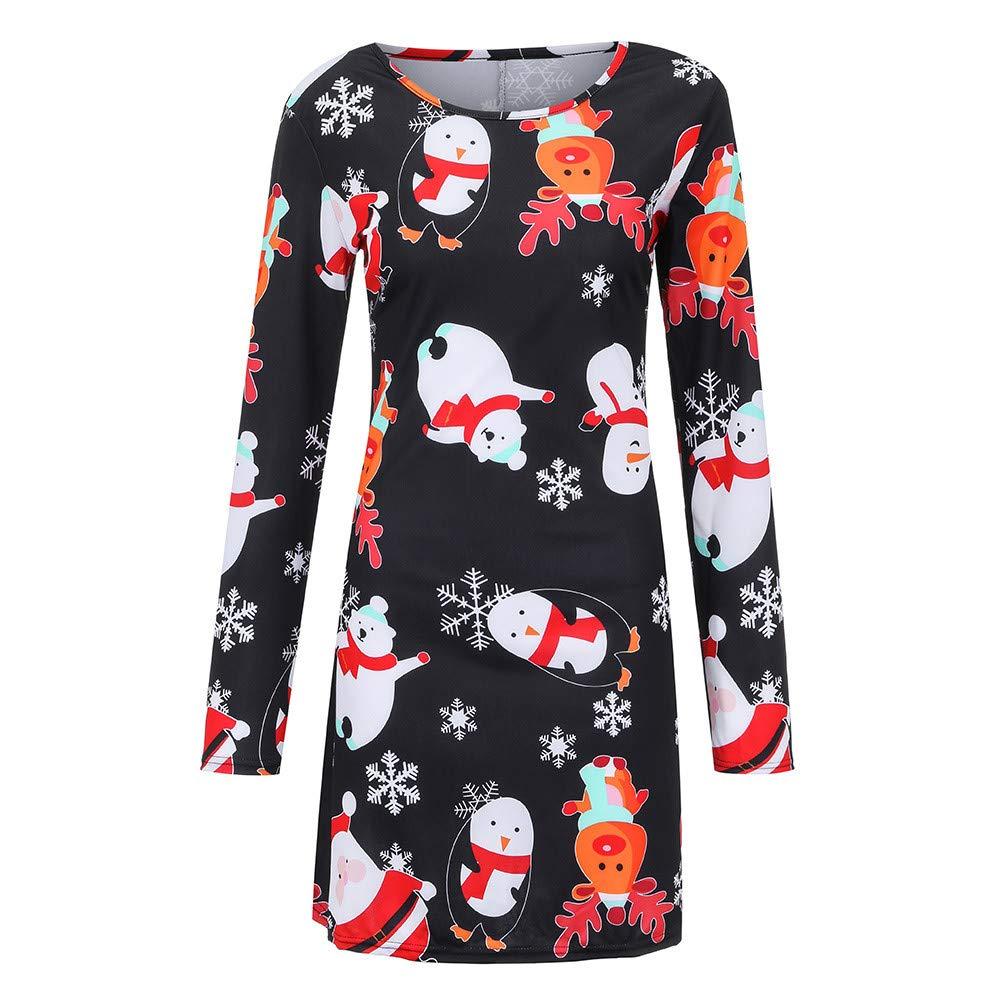 SEWORLD Weihnachten Vintage Retro Christmas Frauen Weihnachten Santa Skater Damen Schneemann Swing Kleid