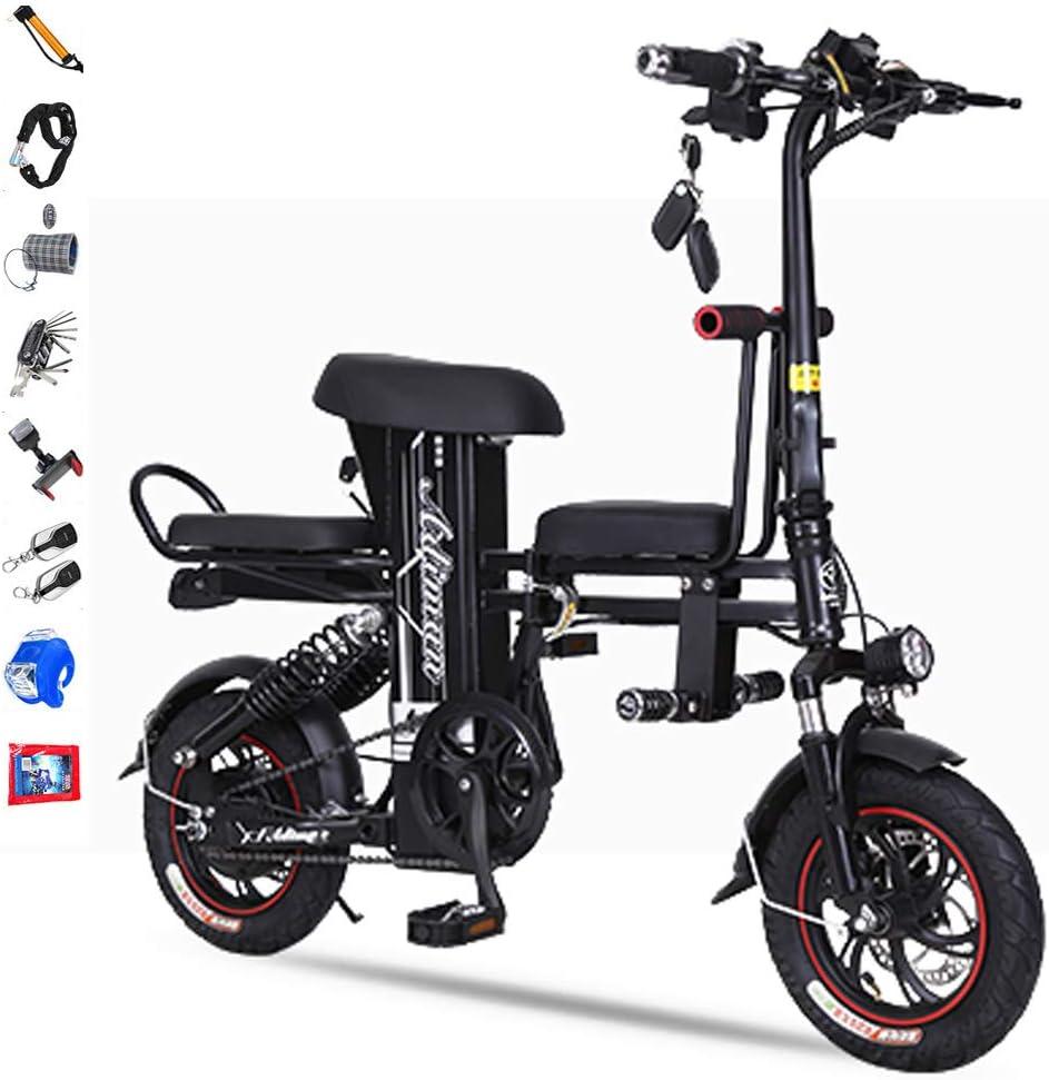 Hxl Bicicleta eléctrica Plegable para Adultos Acero de Alto Carbono Bicicleta eléctrica de 12 Pulgadas Bicicletas de Freno de Disco Doble Amortiguador,3 Colores,40to200KM,Negro,30to40km