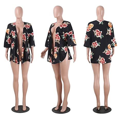 Cape Loose Shirt Kimono Femme OverDose Floral Tops Cover Style up YHt14Oq