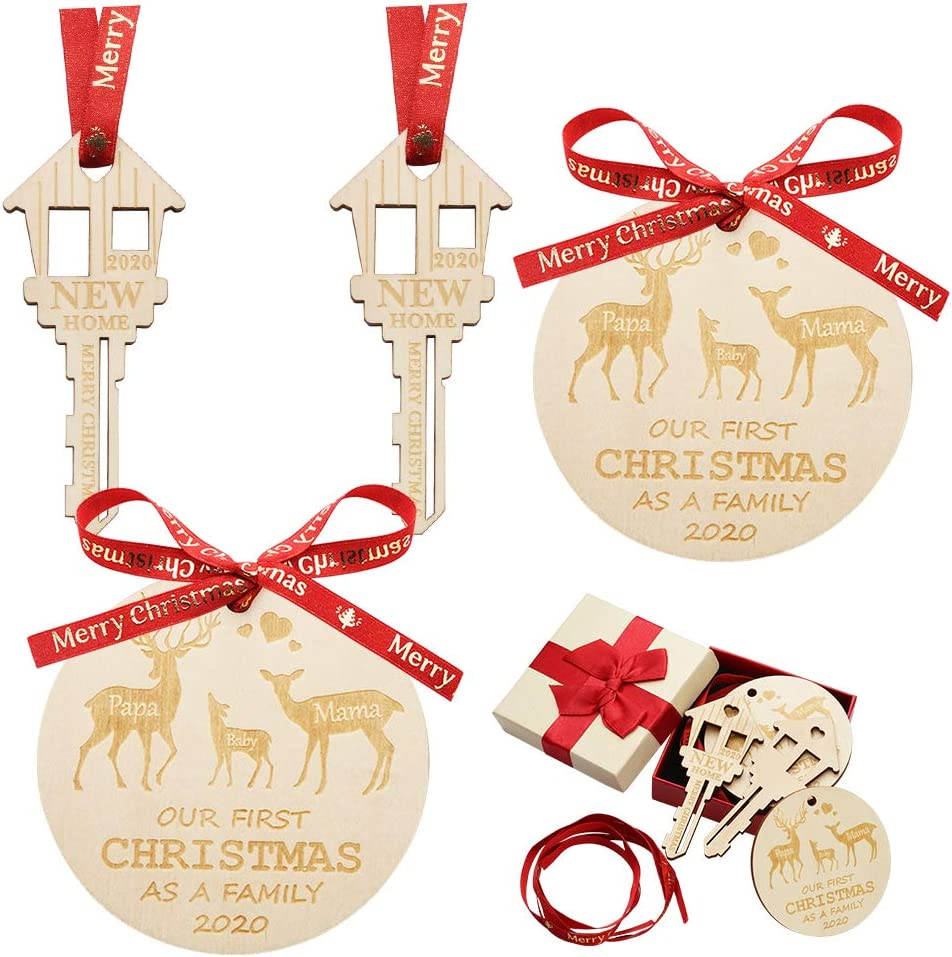hatatit 4 Pack 2020 Our First Christmas in Our New Home Ornament Wood Key Shape Christmas Ornament Round Wooden Ornament with Ribbons for New Home Gift Christmas Tree Holiday Decoration