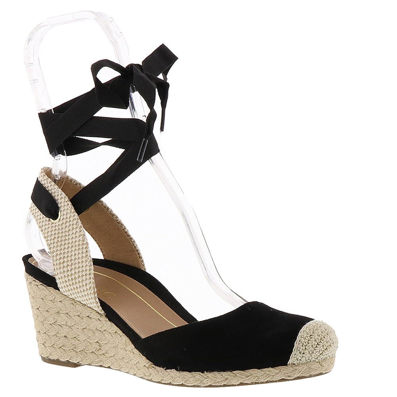 Vionic Womens Aruba Maris Laceup Wedge Sandal Black Size 6.5 Wide B072K38VFS Parent