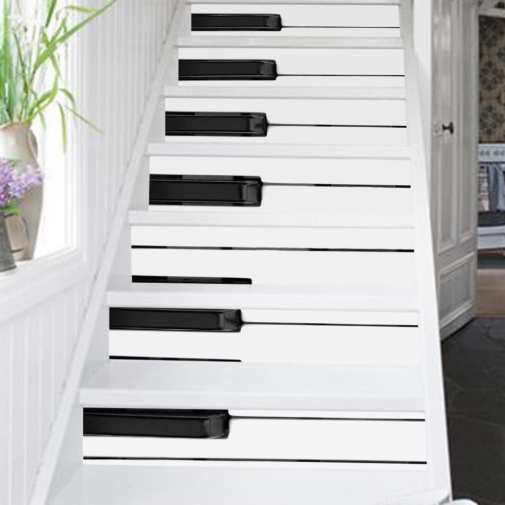 Zumeca Self Adhesive Stair Sticker Piano Keys Waterproof Tile Staircase Wallpaper Pvc Diy Decoration 12pcs Set Removable Fashion Home Decor Stairway Stickers 39 L X7 W Piano Amazon Com
