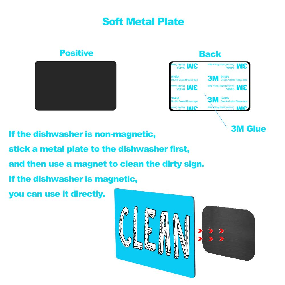 New! Dishwasher Magnet Clean Dirty Sign Waterproof Double Sided Flip Sign Dishwasher Reversible Indicator Clean Dirty Dishwasher Magnet With Bonus Metal Magnetic Plate, Suitable for All Dishwasher