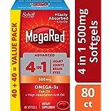 MegaRed 高级4合1 鱼和磷虾油补充剂 500毫克,80粒软胶囊 - 含浓缩欧米茄-3