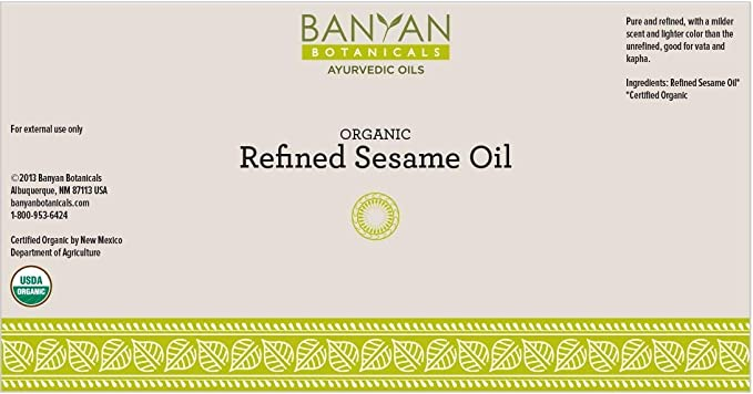 Amazon Com Banyan Botanicals Refined Sesame Oil Usda Organic 128 Oz Unscented Traditional Ayurvedic Oil For Massage Health Personal Care