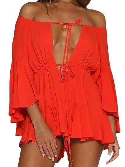 90597d92c7e Amazon.com  KLJR-Women Solid Off Shoulder Short Jumpsuit Bell Sleeves Sexy  Romper  Clothing