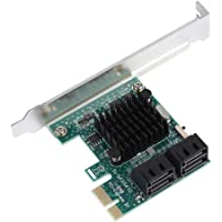 ASHATA PCI-E Carte Adaptateur, Carte Controleur 4 Ports PCI-E vers SATA 3.0 6G Controller Card Adapter pour Windows XP / 2003 / Vista / Win7 / Win8 / Win10