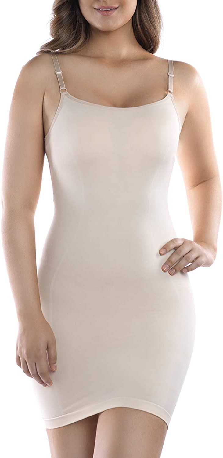 +MD Womens Full Body Shapewear Slip V Neck Control Shaper for Under Dresses