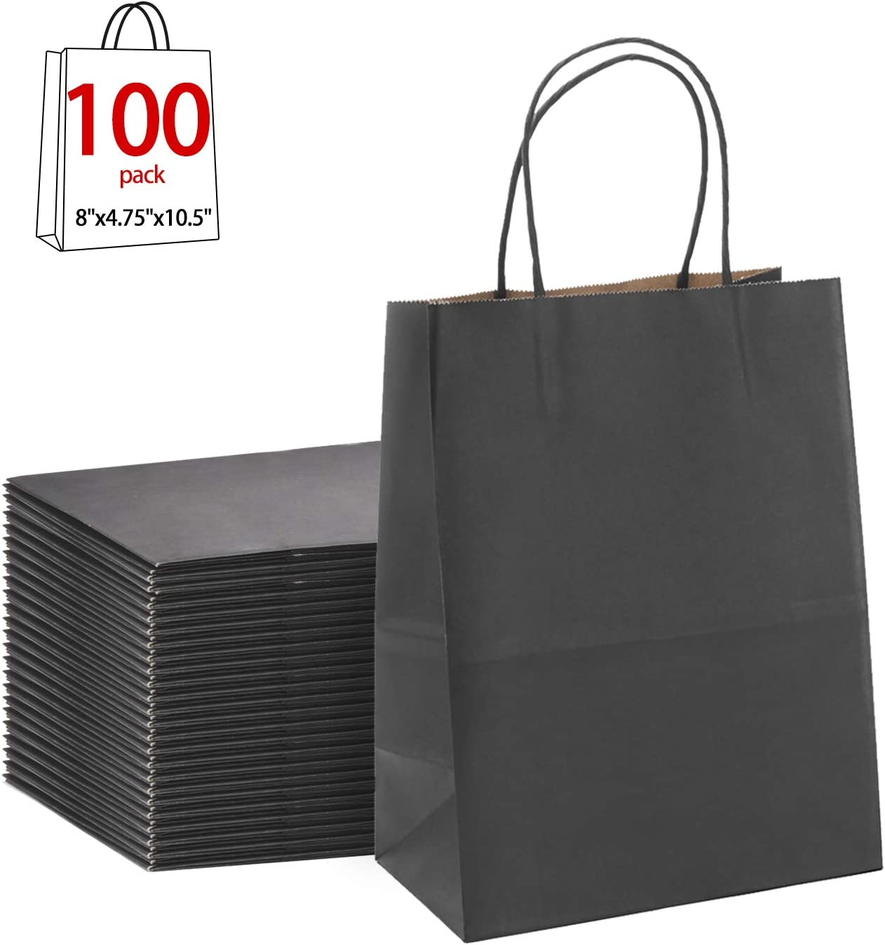 "B01AN809BS Black Gift Bags 8x4.75x10.5""100Pcs GSSUSA Sturdy Shopping Bags,Party Bags,Merchandise Bag, Kraft Bags, Retail Bags, Black Paper Bags with Handles 61sBfsCEPUL"
