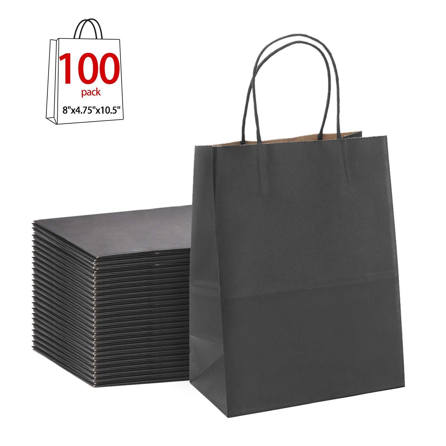 Black Gift Bags 8x4.75x10.5''100Pcs GSSUSA Sturdy Shopping Bags,Party Bags,Merchandise Bag, Kraft Bags, Retail Bags, Black Paper Bags with Handles
