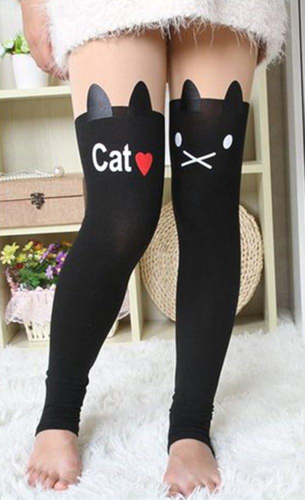 X/&F Girls Cute Cartoon Patchwork Fleece Lined Tights Winter Footless Leggings
