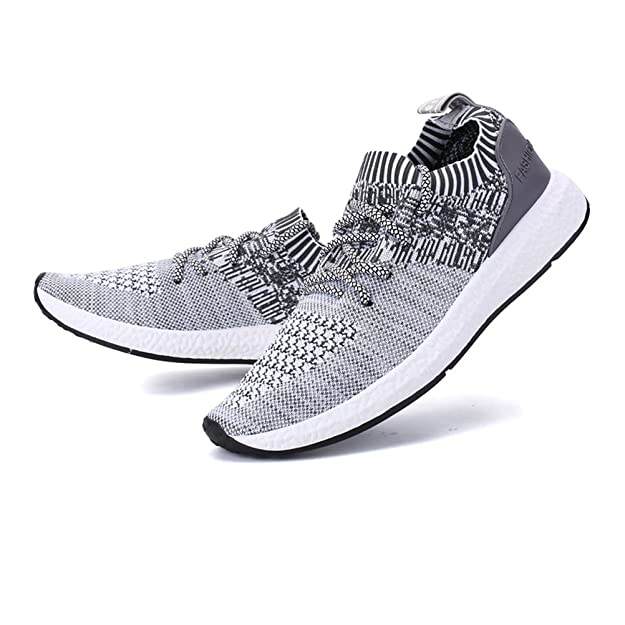 Amazon.com | Happstore Men Knit Running Sport Shoes Casual Lightweight Athletic Sneakers Breathable Cloth on Gym Walking Shoes Gray | Track & Field & Cross ...
