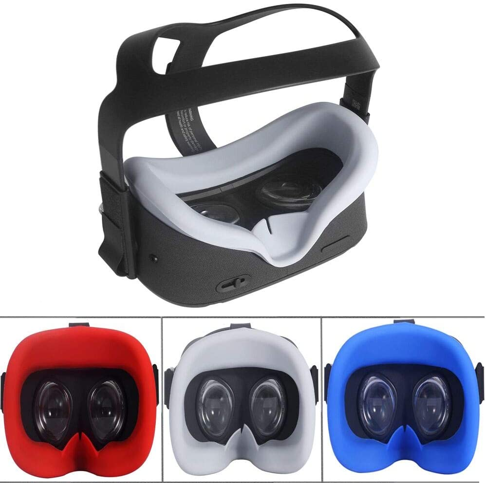 Red Zaracle Flexible Silicone VR Face Cover Pad Replacement Set for Oculus Quest All-in-one VR Gaming Headset