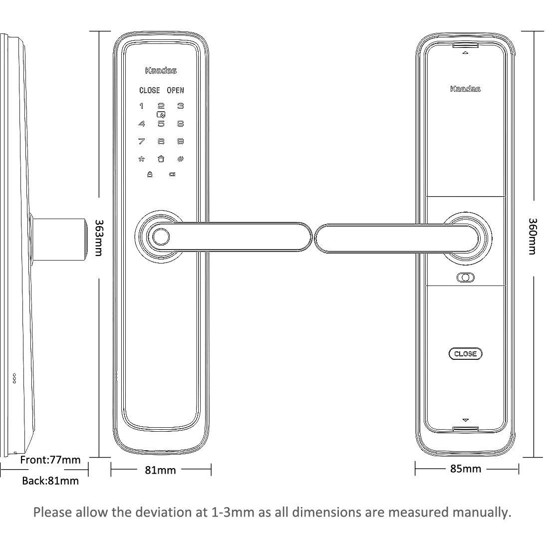 Kaadas L7-5 Lever Smart Lock,Keyless,Touch Pad,Fingerprint+Password+RFID Card+Key(Obsidian Black)