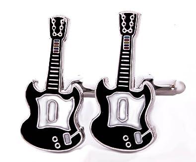Gemelos E-guitarra eléctrica dormir Negro-blanco monrtreal Gitarissten-regalo en caja regalo: Amazon.es: Joyería