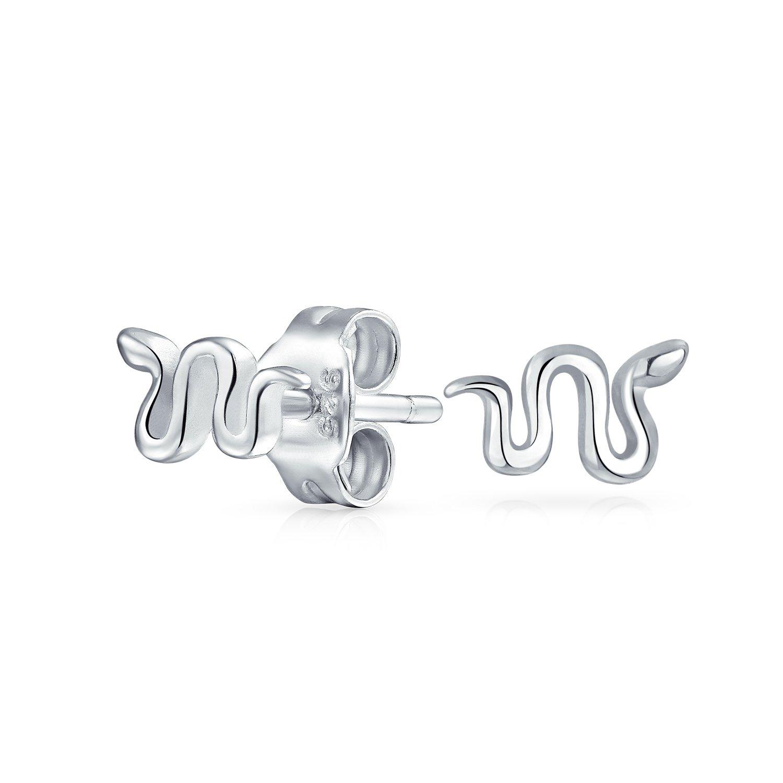 Bling Jewelry Girls .925 Silver Small Snake Stud Earrings PFS-12-5980S