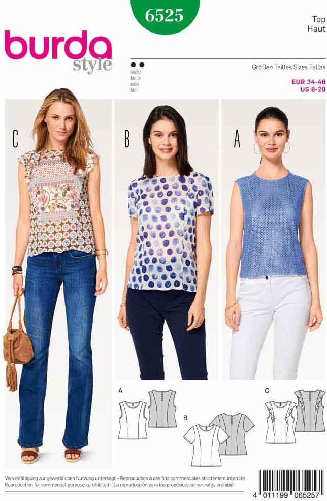 Burda patrón de costura para patrones de costura para fácil Top ...